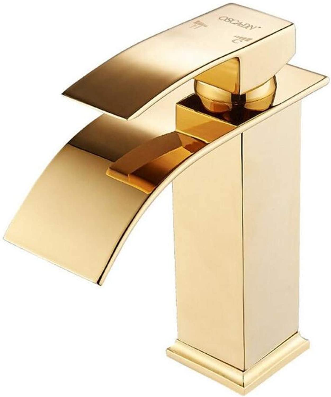Chrome-Plated Adjustable Temperature-Sensitive Led Faucet Faucet Copper Hot and Cold Basin Faucet Single Hole European gold Above Counter Basin Faucet