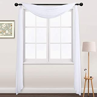 NICETOWN Sheer Curtains Panels 216 - Home Decoration Sheer Voile Scarf Valance for Wedding (1-Pack, W60 x L216, White)