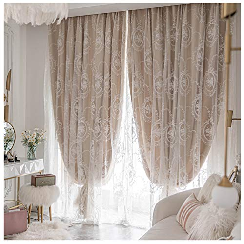Double Layer Blackout Curtain-Soft Thermal Insulated Pencil Pleat Curtain,Lace embroidery Solid Drapes Room Darkening & Energy Saving Window Treatment Tulle Overlay Curtain for Kids Bedroom,1 pcs