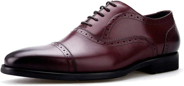 Mens Classic Oxford Echt Leder Derby Brogues Brogues Brogues Formale Schuh Anzug Schuhe Schnürschuhe Square-Toe Für Abend Party Hochzeit Arbeit Geschenke (Farbe   Wine, Größe   44) d50