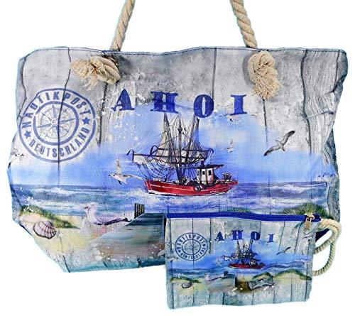 Wilhahn 2er Set Strand Tasche & Kosmetiktasche AHOI 50 x 30 cm Maritim Leuchtturm Schiff Nautik Post Deko GWH 242657