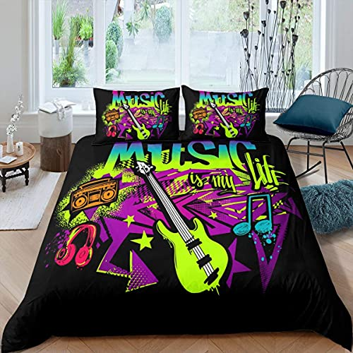 Guitar Duvet Cover Single Size, Kids Teens Music Rock Comforter Cover, Hip Hop Headphone Bedding Set Hipster Grunge Graffiti Style Quilt Cover For Boys Girls Youth, Lightweight Room Decor