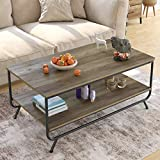 HOMECHO Industrial Coffee Table, 2-Tier Wood and Metal Rustic Cocktail Table with Storage Shelf, for Living Room Office, Easy Assembly, Brown 43 inch