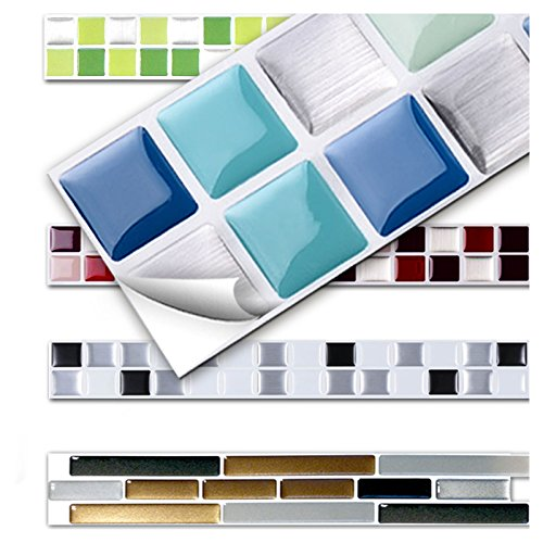 Wandora 7 Stück 25,3 x 3,7 cm Fliesenaufkleber blau Silber türkis Design 1 I 3D Mosaik Küche Bad Fliesendekor Aufkleber Wandaufkleber Wandsticker W1431
