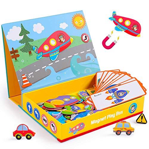 rolimate Puzzle di Legno Giocattoli magnetici, Giochi da Tavolo educativi per Bambini in età prescolare Montessori, miglior Regalo di Compleanno per Ragazzi e Ragazze di età 3 4 5 6 Anni