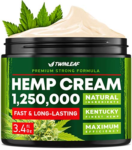 Hemp Oil Cream 1,250,000 - Made in USA - Natural Instant Relief for Knee, Foot, Shoulder, Neck, Back & Arthritis Pain - Hemp Oil Extract