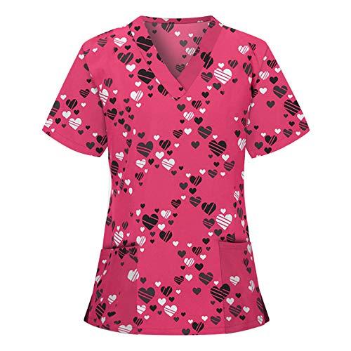 Kobay-Damen Valentinstag Paar Casual Comfort Kurzarm V-Ausschnitt Tops Arbeitskleidung