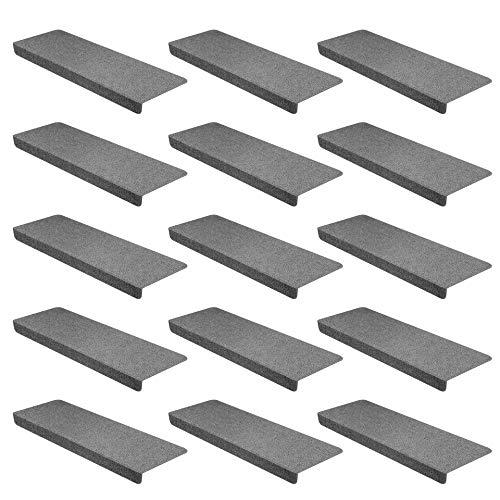 15er Set StickandShine Stufenmatte in dunkelgrau eckig für Treppenstufen, Treppenstufenmatte zum aufkleben