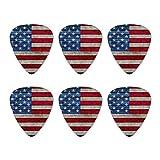 Rustic American Flag Wood Grain Design Novelty Guitar Picks Medium Gauge - Set of 6