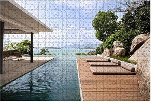 Insel Villa Pool Berg Chalet Bilder Lizenzfreie große Stück Puzzles für Erwachsene Kinder Kreative Unterhaltung Holzpuzzles Home Decor, 500 Stück 52 * 38 cm