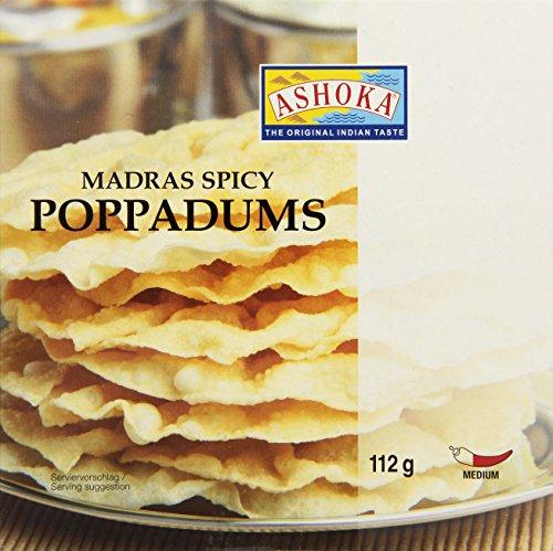 ASHOKA Poppadums, gewürzt Linsenmehlfladen Madras spicy, 6er Pack (6 x 112 g)
