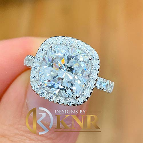 Beautiful 14k Solid White Gold Cushion Cut Moissanite and Natural Round Cut Diamond Engagement Ring Halo Bridal Set 5.50ct