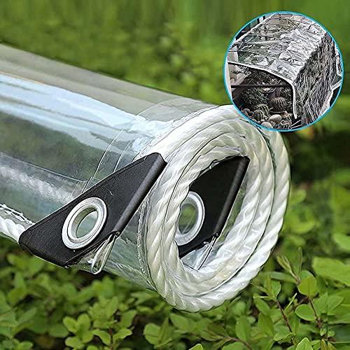 HFMY Lona Transparente Impermeable Exterior, Lona de protección con Ojales para Muebles de jardín, Piscina, Coche, Lona de protección Impermeable y Resistente a la Rotura(1Mx1M)