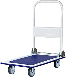 Office Household Trolley, Small Trailer Four-Wheeled Silent Trolley Folding Trolley Size 73 * 47CM, 90 * 60CM (Color : Blue, Size : 90 * 60CM)