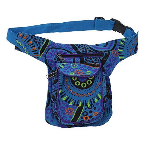 KUNST UND MAGIE Kinder Goa Schulter Bauchtasche Gürteltasche Bauchgurt Hippie Psy, Farbe:Blau