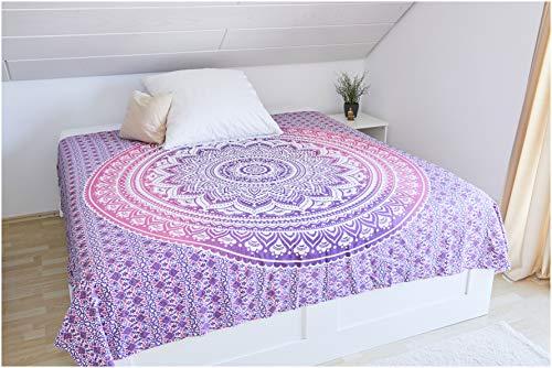 Collido Mandala Wandtuch aus Indien | 100% Baumwolle | ca. 210x220 cm | Indisches Bohemian Tuch | Indischer Wandteppich als Wandbehang, Überwurf oder Tagesdecke für Couch und Bett in Queen Size