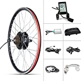 48V 500W Electric Bicycle Rear Wheel Conversion kit E Bike hub Motor Wheel with Intelligent Motor Controller LCD Display,Thumb Throttle 7 Speed Freewheel (26' 48V 500W, LCD Display Conversion kit)