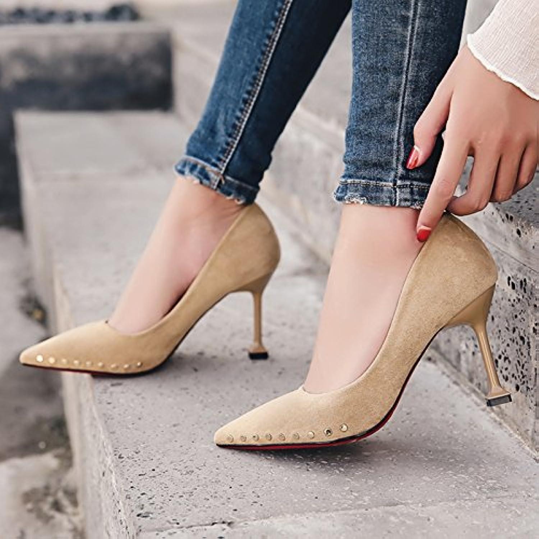 Xue Qiqi Niet High Heels Mädchen fein mit wilden Licht mit der Spitze der Mund einzelne Schuhe Frauen Schuhe, 37, beige 8 cm  | Shop  | Schönes Design  | Elegante Und Stabile Verpackung