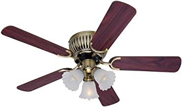 Well-Made Fan Light Thin Ceiling Fan Brass, 3-Head Zipper and Reversible Blade in Mahogany and Oak Electric Fan Home Ceiling Fan Easy to Install Diameter 132 cm Well-Made (Color : Red)