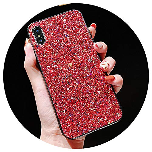 Glitter Phone Case for iPhone X 10 XR XS Max 7 8 Plus on Hard Blinking Back Cover for iPhone 6 6s Plus Case Conque,Red,for iPhone 6 6S