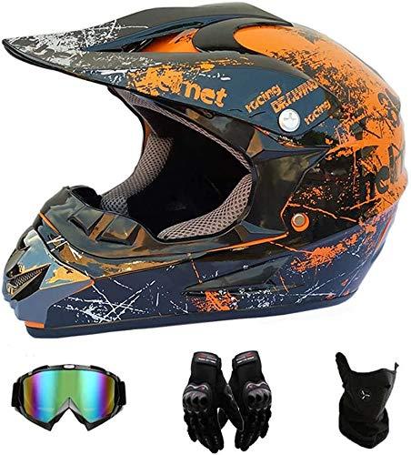 Amacigana® {Kinder MotocrossHelm + Handschuhe + Brille}Unisex Motorradhelm Cross Helme Schutzhelm ATV Helm für Männer Damen Sicherheit Schutz (L)