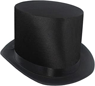 Tall Black Satin Top Hat,One Size