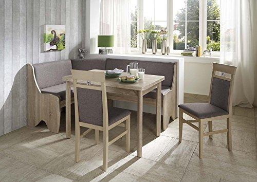 HOWE-Deko Truhen-Eckbankgruppe Eiche Sonoma Dekor; Eckbank, 2 Stühle und Vierfußtisch, Bezug: grau-braun, variabel aufbaubar