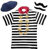 Paper Umbrella Mens FRENCH MAN fancy dress 5pc set TSHIRT + NECKERCHEIF + BERET + TASH + GARLIC (Men: 36/38)