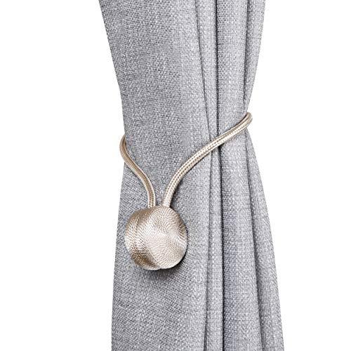 SCM Gardinen Raffhalter mit Magnetverschluss Magnetische Vorhang Dekoration Tiebacks, 4er-Pack (Beige)