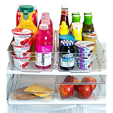 Misc Home [Premium] Refrigerator Organizer Bins – 2 Large Stackable Fridge Organizer Bins with Handles and 2 Nesting Fridge Bins w/Lids – For Fridge Freezer and Kitchen Pantry Organizer Bins