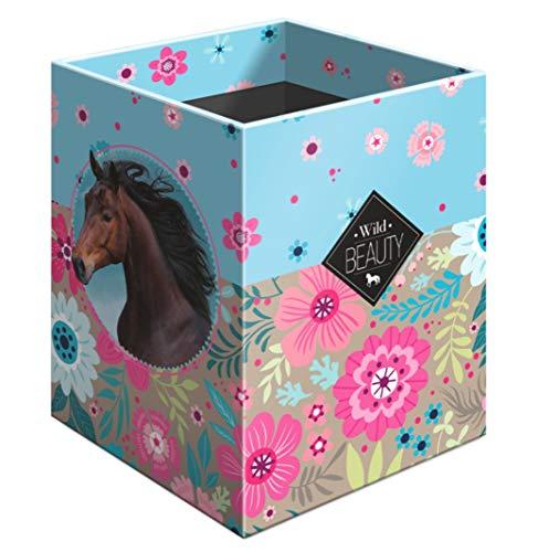 Stiftebox Pferd Motiv - Kinder Schreibtisch - Stifte Box Stiftehalter Organizer für Mädchen - tolle Geschenkidee für den Schulanfang Schultüte Stifteköcher (mehrfarbig II)