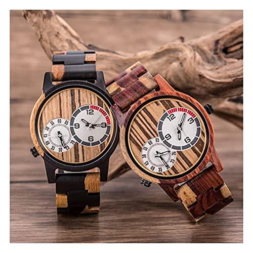 yuyan 2pcs Pareja de Madera Reloj de Madera diseño de Doble Zona Reloj de Madera Movimiento de Cuarzo japonés Casual Business Sports Watch Watch Ladies Watch PRÁCTICA COMPRÁTICO Best Best Regale