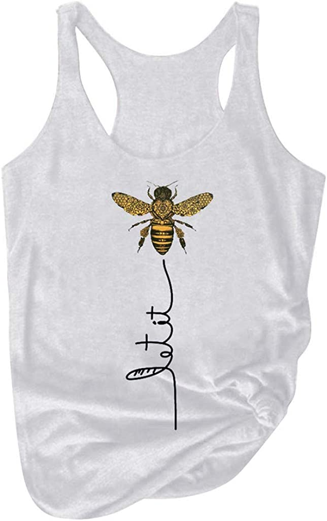 Sayhi Women Plus Size Summer Bee Print Round Neck Sleeveless Casual T-Shirt Top Tank Graphic Blouse