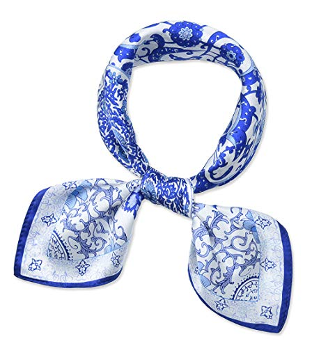 corciova Women 100% Mulberry Silk Neck Scarf Small Square Scarves Neckerchiefs Flowers Blue and White