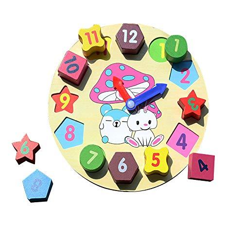Yifuty Digital-Uhr aus Holz Kinder-Intelligence-Form Matching Baby Building Blocks 2-3 Jahre altes Baby Lernspielzeug