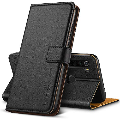 Hianjoo Hülle Kompatibel mit Xiaomi Redmi Note 8T, Handyhülle Tasche Premium Leder Flip Wallet Hülle Kompatibel mit Xiaomi Redmi Note 8T [Standfunktion][Kartenfächern][Magnetic Closure Snap] - Schwarz