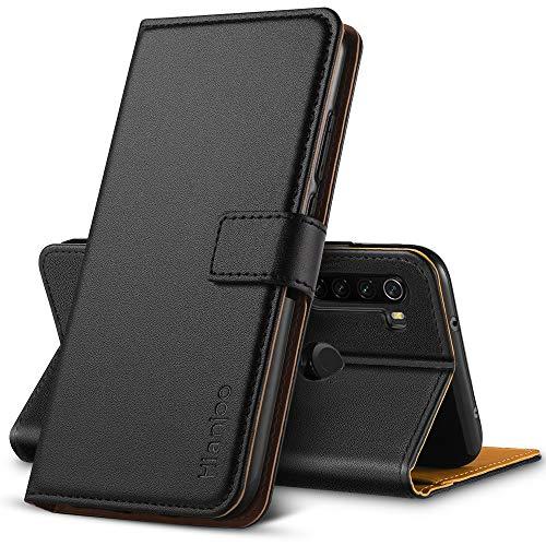 Hianjoo Funda Compatible con Xiaomi Redmi Note 8T, Suave PU Cuero Carcasa con Flip Case Cover, Cierre Magnético, Función de Soporte, Billetera con Tapa Tarjetas Compatible con Redmi Note 8T, Negro