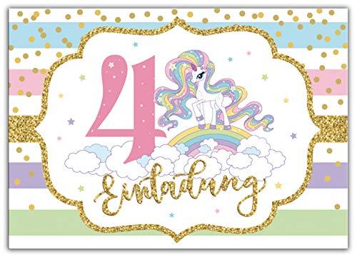 Junaversum 12 Einladungskarten zum 4. Kindergeburtstag Mädchen Einhorn Regenbogen Einladungen vierte Geburtstag