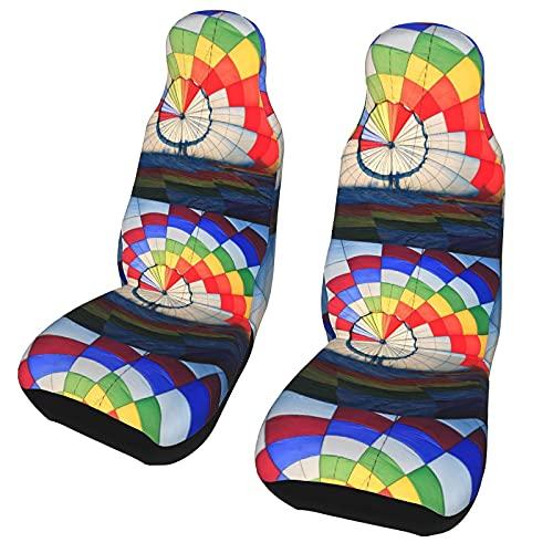 Funda de asiento para coche Retro globo aerostático arcoíris funda para silla de coche Protector universal para asiento delantero de coche 2 piezas