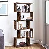 JOYBASE 5 Shelf Bookcase, 5 Tier S-Shaped Wood Storage Shelves,...