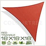 ColourTree 16' x 16' x16' Sun Shade Sail Triangle Green Canopy Awning Shelter