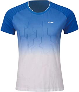 LI-NING Women's Badminton Competition T-Shirts Jersey Jersey Mono Yarn at Dry Lining Breathable Sports Tops Tees AAYP066