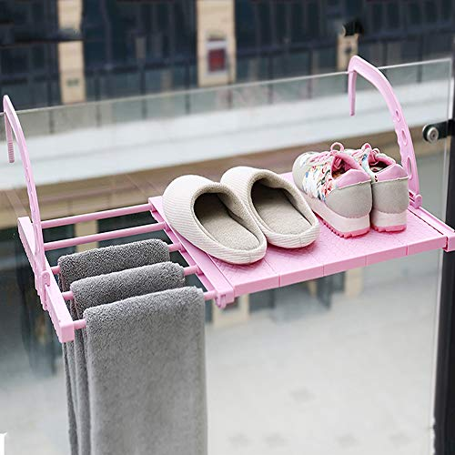 HyFanStr Tendedero extensible para radiador de ropa, toallero para puerta con brazos móviles, para colgar en la pared, estante para balcón, ventana (longitud: 50-80 cm, ancho: 35 cm, rosa)