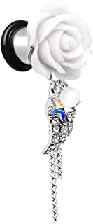Body Candy Steel Clear Aurora White Accent Rose Star Angels Wing Dangle Ear Gauge Plug Set 0 Gauge