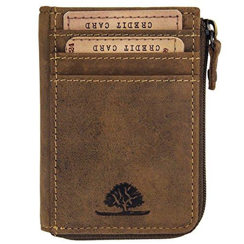 Green Burry Karten Reißverschlussmünzbörse Vintage Brown