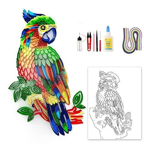 Kit de quilling de bricolaje, pintura de papel acolchado, loro creativo, juego de arte y manualidades de rompecabezas para colorear en 3D de Citsky (loro + herramientas)