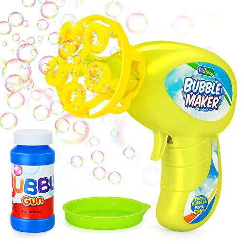 Ucradle Máquina Burbujas Niños Automatico Pistola de Burbujas de Jabón Soplador de Burbujas con 65ml Solución de Burbujas Juguete de Burbujas Maquina Pompas Jabón Regalo para Niños