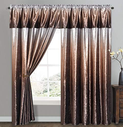 Vibrant Victor - Ice Crushed Velvet Curtain with Attached Straight Valance. Siver Grey Ground with Ombre Color Print. 2pcs Set. Each pc 57W by 90L inch with 18L inch Valance. (Gradient Brown)