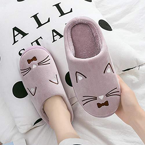 Zapatillas de casa de invierno para mujer Zapatillas de gato de dibujos animados Zapatillas de casa antideslizantes de invierno suave Zapatillas de piso para parejas de interior, púrpura, 38