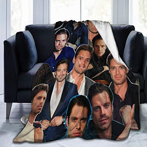 "KATHRYN TIMOTHY Sebastian Stan Blanket Microfiber Throw Flannel Blanket Super Soft Warm Fuzzy Cozy Lightweight Blanket for Bed Couch Sofa Car Twin 80""x60"""